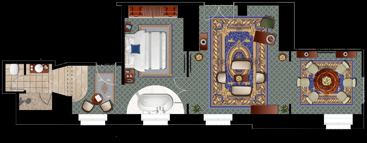 Da Vinci Lakosztály alaprajz - Mystery Hotel Budapest