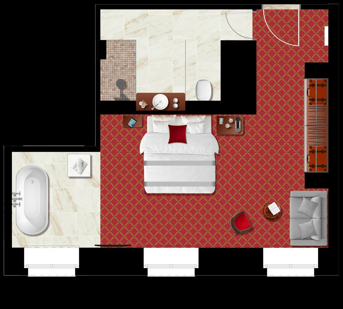 Studio Lakosztály alaprajz - Mystery Hotel Budapest