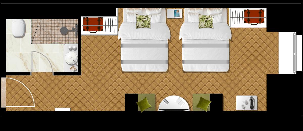 Superior Double-Double Szoba alaprajz - Mystery Hotel Budapest