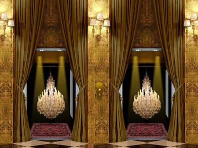 Elevator covered with large, heavy velvet curtains, which open magically