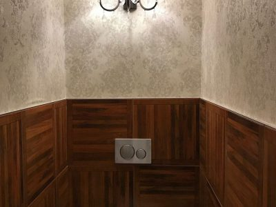 Bathroom with special wood tiles - Mystery Hotel Budapest